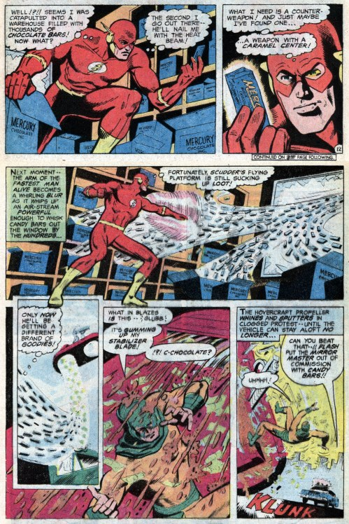 Flash defeats Mirror Master using chocolate bars to gum up the works in his hovercraft.
