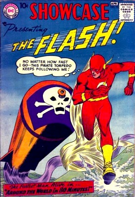 Showcase #13: The Flash runs across the water from a torpedo with a pirate flag on front. 'No matter how fast I go---this pirate torpedo keeps following me!'