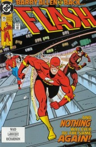 Flash v.2 #75 cover: Barry Allen, Jay Garrick and Wally West together.