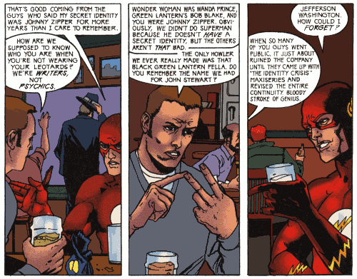"Mark Millar and the Flash discuss secret identities and how DC had to rewrite continuity when heroes started revealing their real names... with ""The Identity Crisis."""