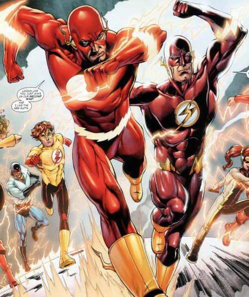 Flash: Rebirth #5 - Flashes Barry Allen and Wally West in his new costume.