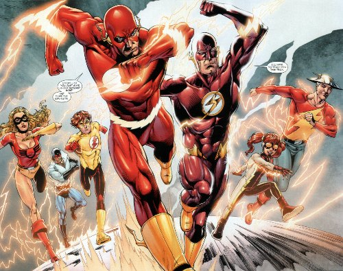 Flash: Rebirth #5 - Double-page spread featuring all the good-guy speedsters including: Jesse Quick, Max mercury, Bart Allen as Kid Flash, Barry Allen, Wally West in his new Flash costume, Irey West as Impulse, and Jay Garrick.