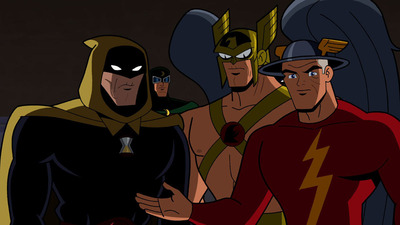 Hourman, Hawkman and the Flash (with Dr. Mid-Nite int he background)