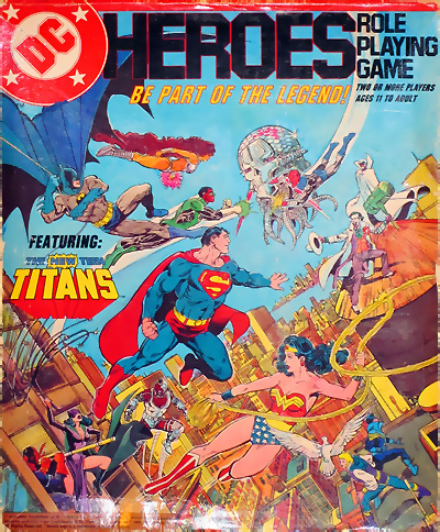 Mayfair Games DC Heroes Role-Playing Game box set 1985 art by George Perez