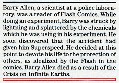 Flash biography from the 1985 Mayfair DC Heroes RPG