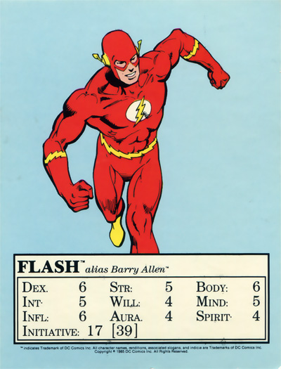 Flash from the 1985 Mayfair DC Heroes RPG