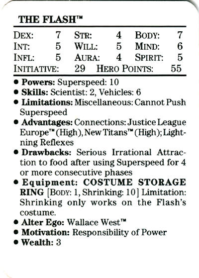 Flash from the 1989 Mayfair DC Heroes RPG
