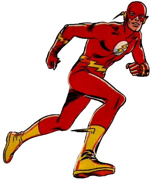 Red full body jumpsuit Redesigned lightning bolt in front of white ...