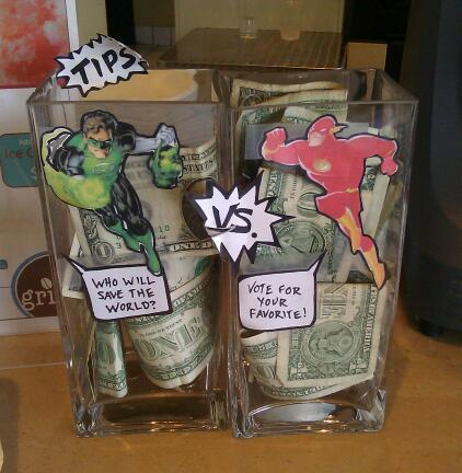 Tip jars: Who will save the world: Green Lantern or the Flash? Vote for your favorite!
