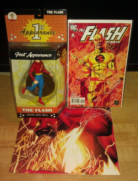 Jay Garrick 1st Appearance action figure, Flash Rebirth #4 variant signed by Geoff Johns, Flash: Rebirth poster
