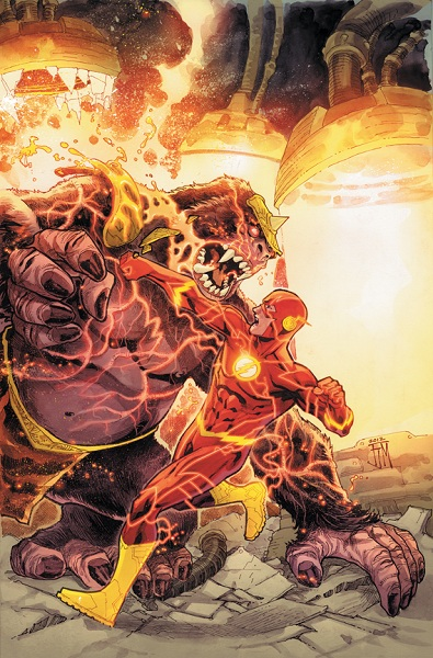 Flash vs. Gorilla Grodd in the Flash #14 cover by Francis Manapul