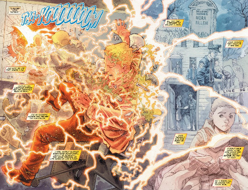 Lightning strikes Barry Allen in The Flash #0