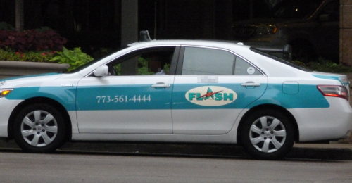 Flash Taxi Cab on the streets of Chicago