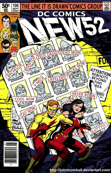 Wally West and Donna Troy vs. the New 52 by John Trumbull (X-Men: Days of Future Past)