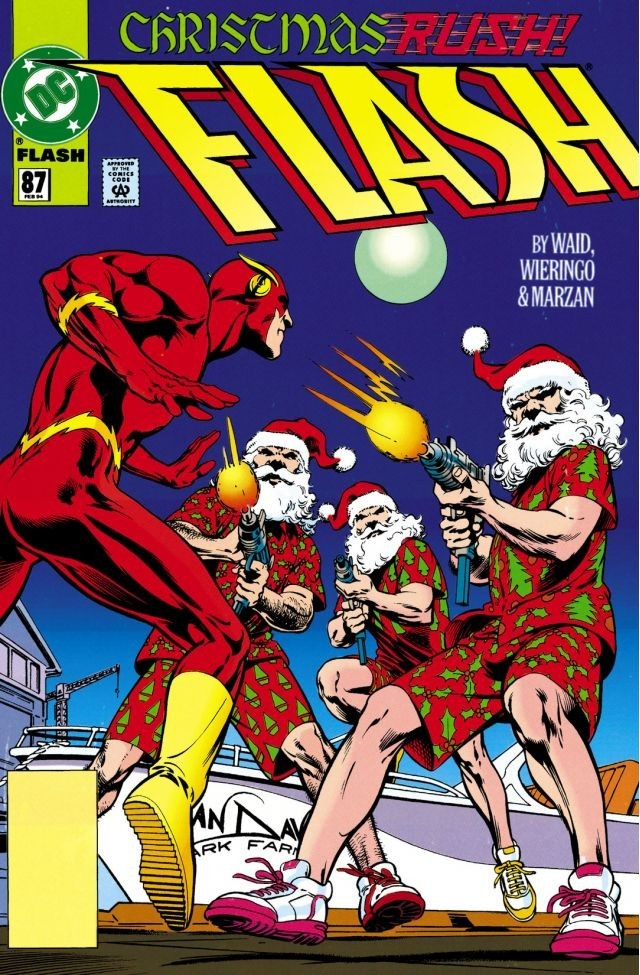 Flash #87: Flash vs. a gang of machine-gun-toting Hawaiian shirt-wearing Santa Clauses.