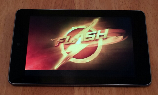 Flash TV logo on a tablet