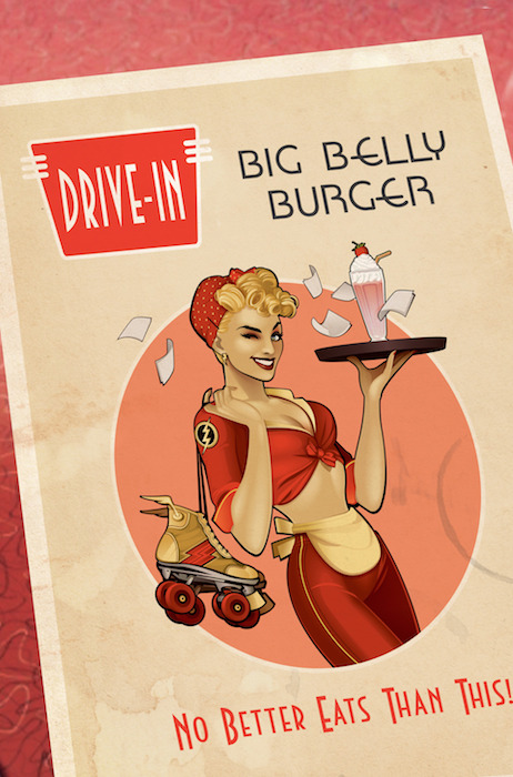 Flash #32 Bombshell Variant Cover: Drive-in diner menu (with roller skates)