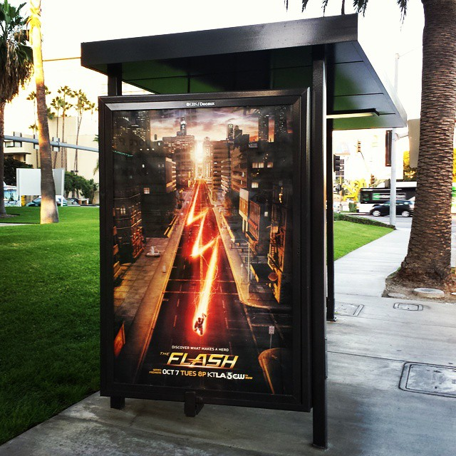 Flash TV Show Poster at a Bus Stop.