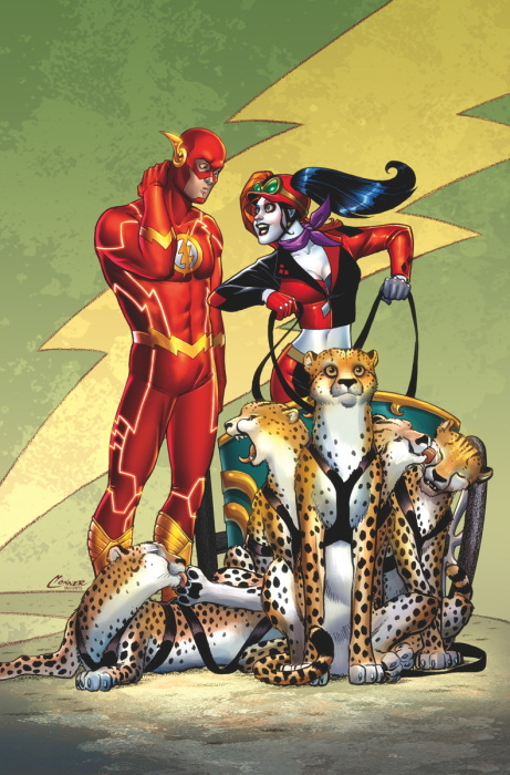Flash 39 Harley Quinn Variant by Amanda Conner and Paul Mounts: Harley has a chariot pulled by cheetahs.