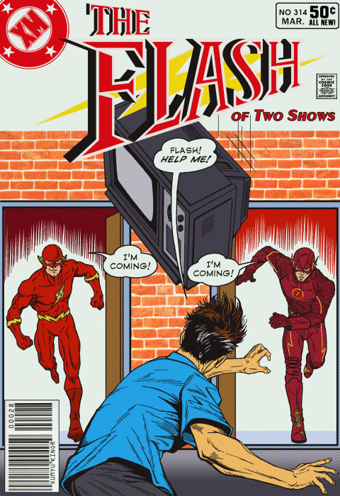 Flash of Two Shows featuring John Wesley Shipp and Grant Gustin from the 1990 and 2014 TV series.