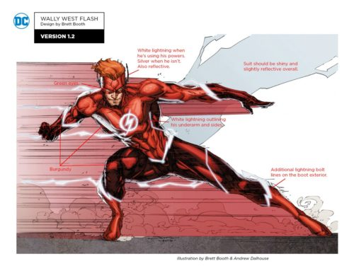 Wally West - Rebirth costume with notes by Brett Booth